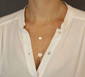 Colliers en couches argent ou d'or Set / ensemble de 3 couches de colliers / personnalisé disque colliers / superposition des colliers en couches et Long LS907