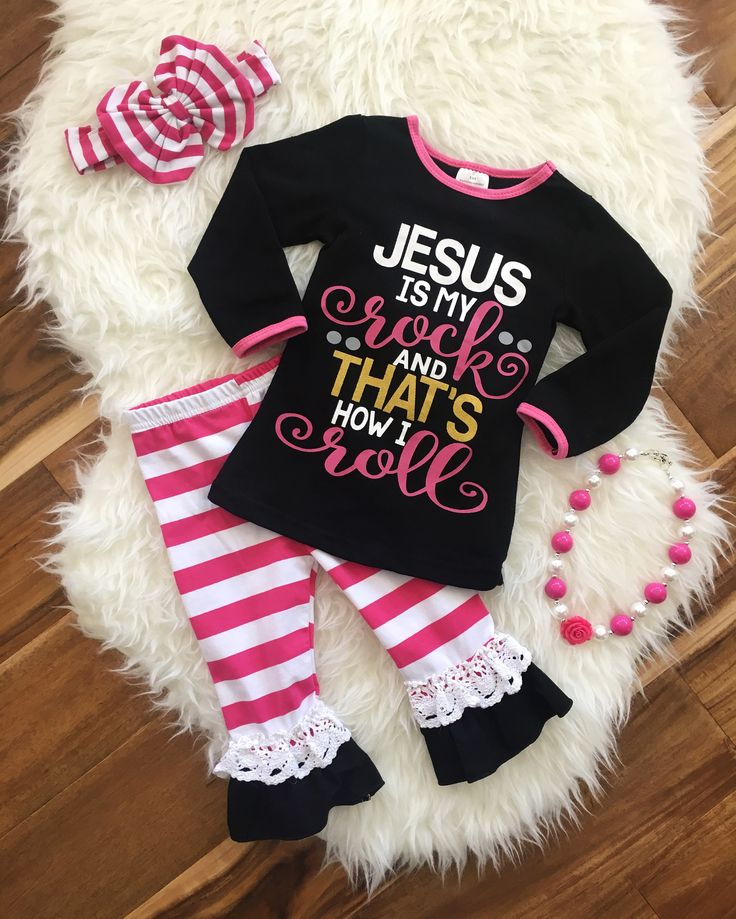 """Jesus is My Rock and That's How I Roll"" Pink Stripe Pant Set 