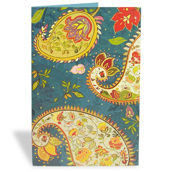 Paisley Pattern Greeting Card  An amazing ethnic card that will make your wishes and invitations even better and lovlier. Available till stock lasts. | Rs. 75 | Shop Now | https://hallmarkcards.co.in/collections/shop-all/products/paisley-pattern-greeting-card | Card Size :20.5*14