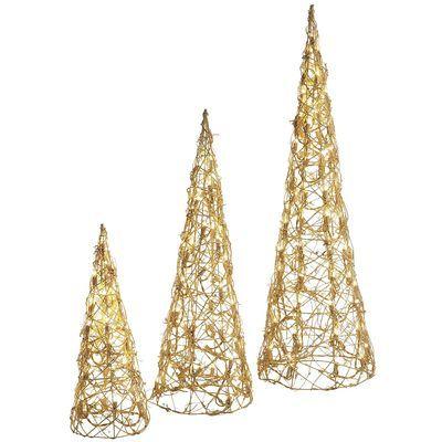 Pre Lit Rattan Cones Trees Set Christmas Pinterest