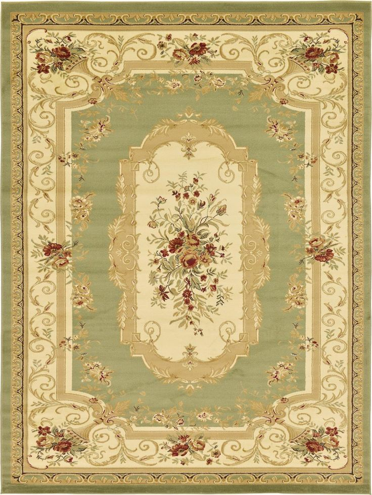 Green 9' 0 x 12' 0 Classic Aubusson Rug | Area Rugs | eSaleRugs