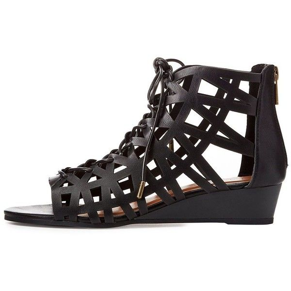 Bamboo Caged Lace-Up Gladiator Sandals ($33) ❤ liked on Polyvore featuring shoes, sandals, black, gladiator sandals, black caged sandals, black sandals, greek sandals and low wedge sandals