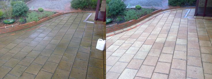 Concrete paved driveway that looks very old in the firts picture. Go Cleaning´s results speak for themselves...