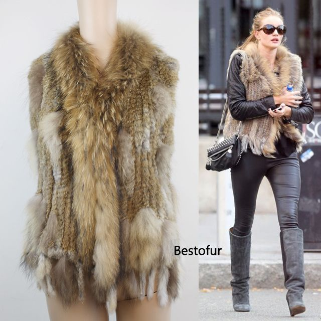 Classic Genuine Real Knitted Natural Rabbit Fur Vest Fur Coat For Women Girl Lady /OEM/Wholesale/Retail/Free Shipping US $59.99 - 65.99