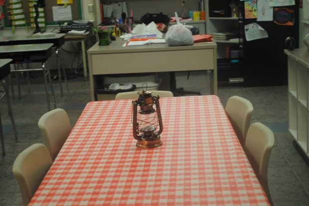 A red-checkered tablecloth would be fun on each team's table... maybe right before a snack or culminating camping meal.