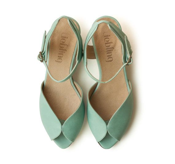 Be still my heart.......Mint Adelle Sandals,  Handmade Leather shoes, green Shoes, Women heels sandals free shiping