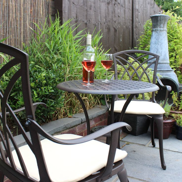 Garden Chair Set Part - 25: Charles Bentley Cast Aluminium Bistro Table And Chairs Set