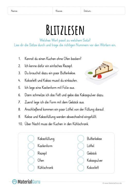 ein kostenloses arbeitsblatt zum lesen lernen auf dem es um das blitzlesen geht die sch ler. Black Bedroom Furniture Sets. Home Design Ideas