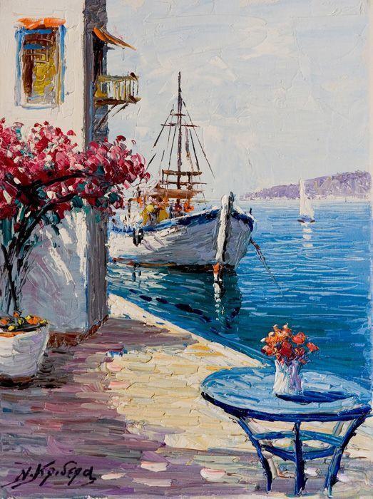 Resultado de imagen para pintura em tela barcos abstrato
