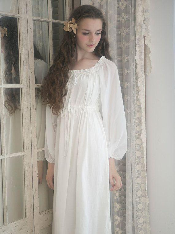 White Cotton Tunic Maxi Dress Fall Autumn Maternity Dress