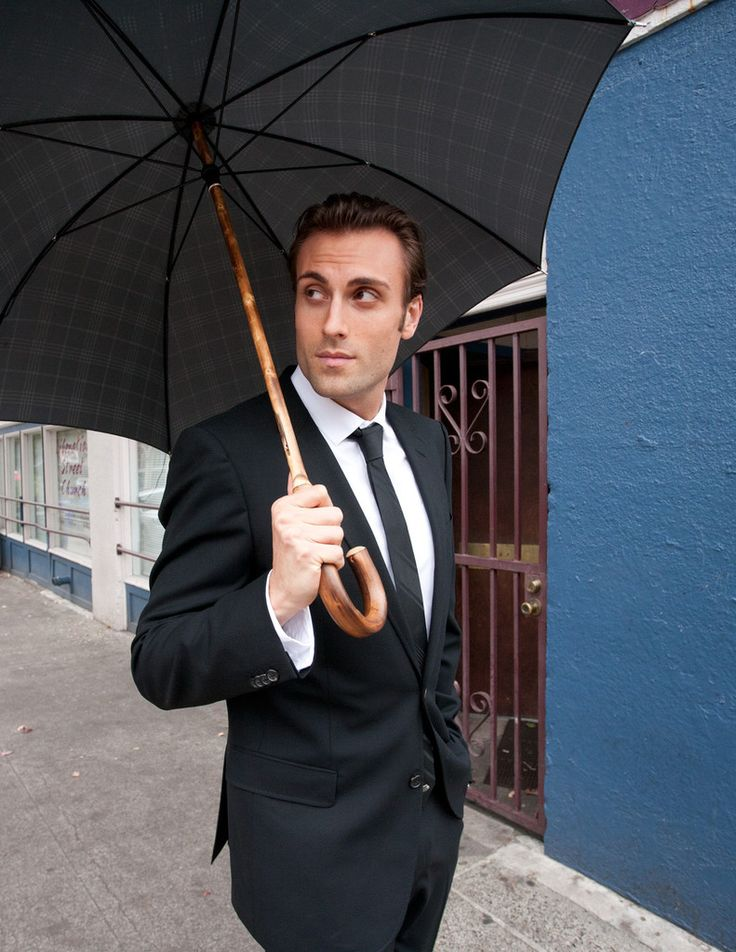 Ombrelli Handcrafted Umbrella with Wood Handle - Midnight Pin Stripe :: Maxton Men