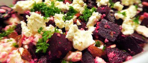 Rødbedesalat med feta og mandler