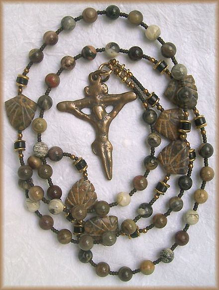 Path of St. James, Handmade Rosary: Carved Stone Shells and Bronze; Still Stone and Moss, Prayer Bead Art