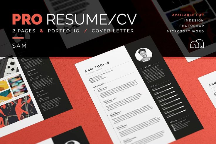Pro Resume/CV - Sam - Resumes -Free cover letter template - Need to update your Resume? Check out the pro collection of templates creative market has On offer! This elegant and professional resume will help you get noticed! The package includes a resume template, cover letter template & reference letter template in a pretty floral theme. This template is easy to change colours, layout and fonts to suit your needs.