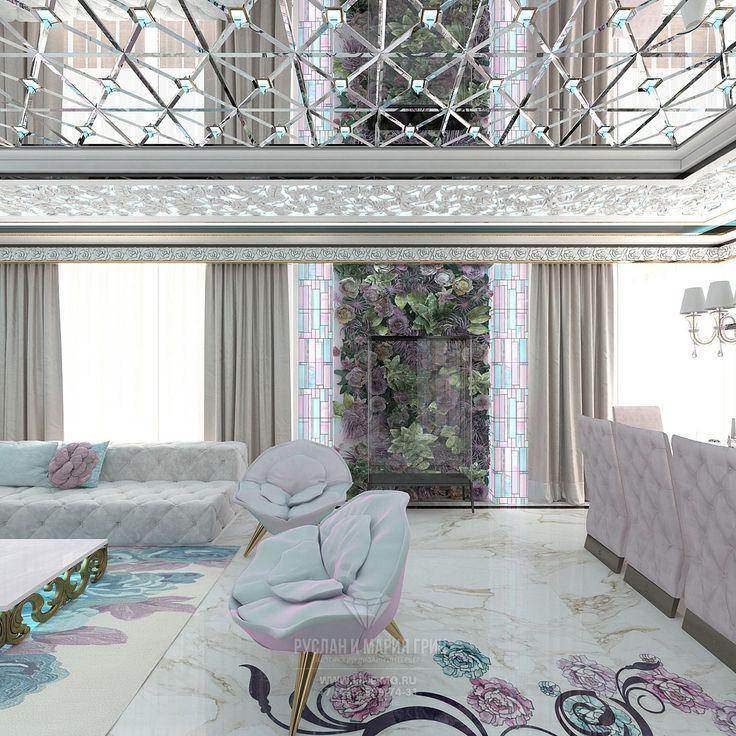 Дизайн белой гостиной с креслами и диваном