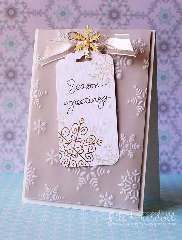 Merry-Monday-embossed-snowflakes using Endless Wishes from Stampin Up by Gill Prescott, www.lilybygilly.wordpress.com