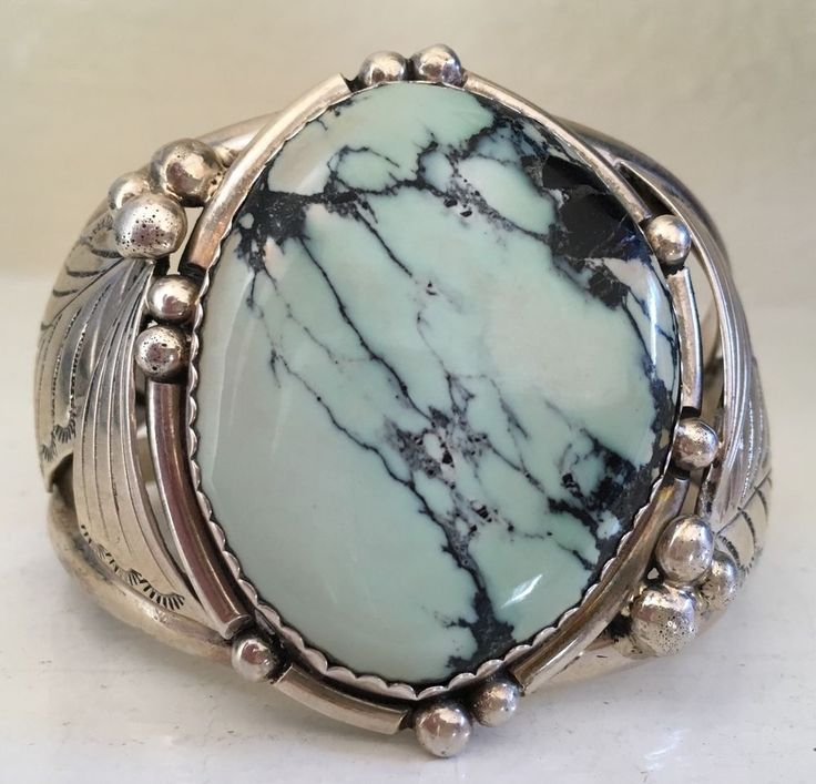 """""""SIGNED/STAMPED & TALL NAVAJO DRY CREEK TURQUOISE & STERLING SILVER BRACELET 67G"""