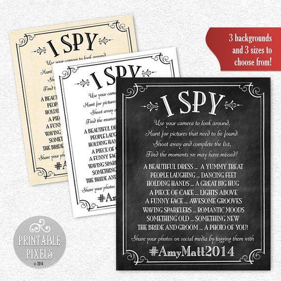 I Spy Wedding Game Personalized Printable Wedding Sign Social Media Instagram Twitter Facebook