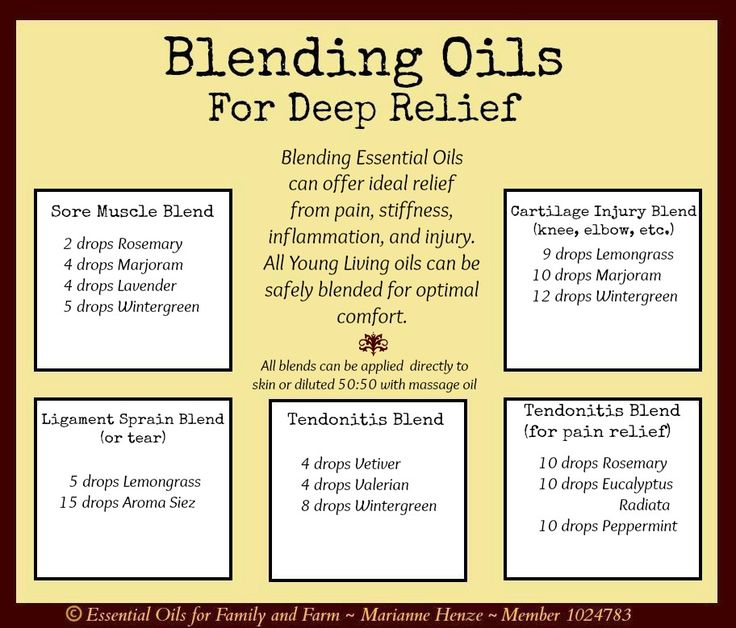 Blending essential oils for deep relief