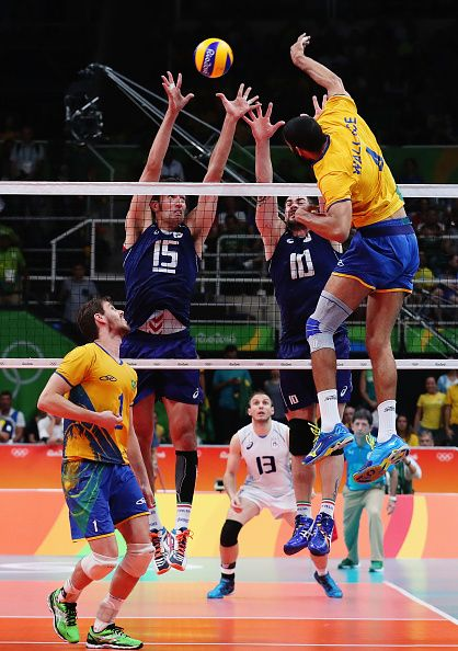 Wallace de Souza of Brazil spikes the ball during the Men's Gold Medal Match…