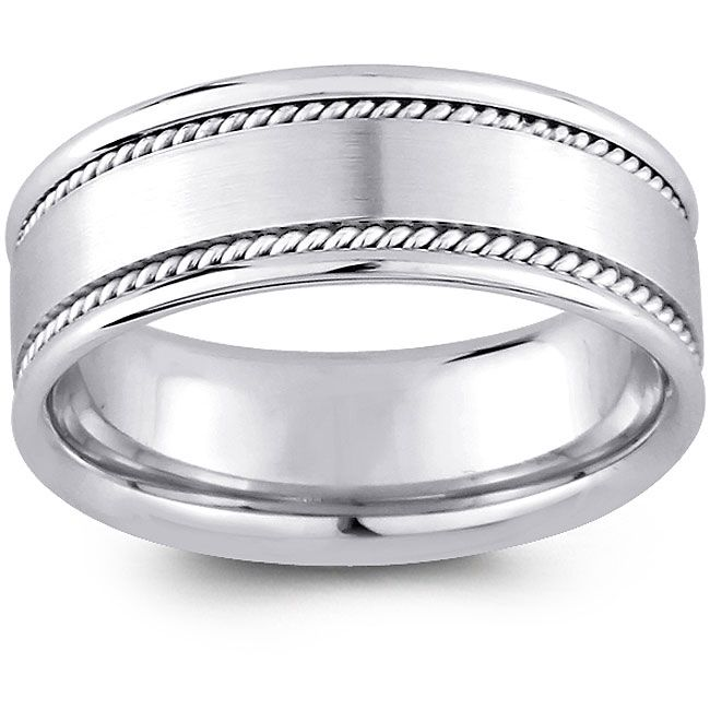 14k White Gold Men's Rope Detail Comfort Fit Wedding Band (8 mm) - Overstock™ Shopping - Big Discounts on Men's Rings