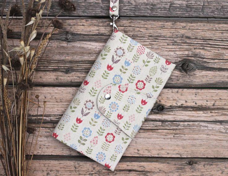 Bright flower travel wallet case passport travel holder cotton flower wallet organizer cute wallet travel document holder case + Free gift! by KodamaLife on Etsy