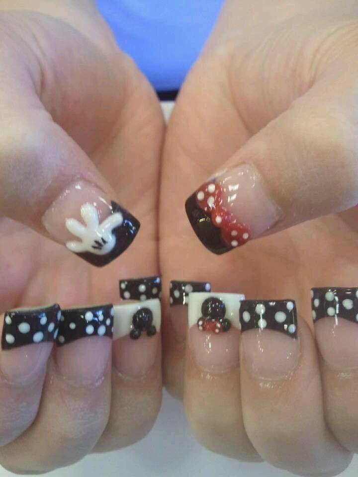 Mejores 14 imágenes de Mickey and Minnie nails en Pinterest   Uñas ...