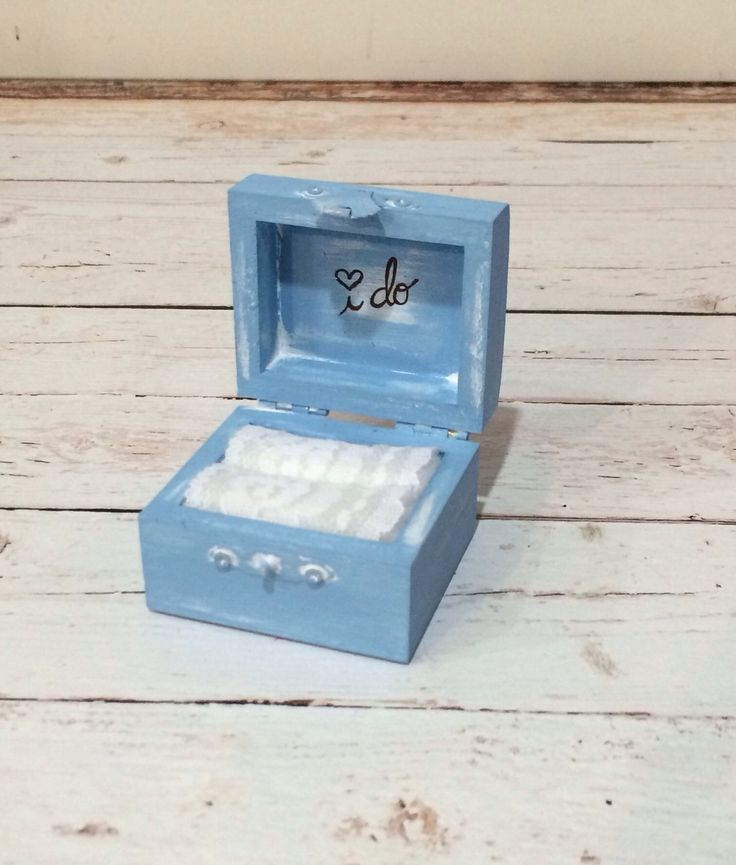 Vintage chic I DO ring bearer box - #24 Baby Blue - The Wedding Faire