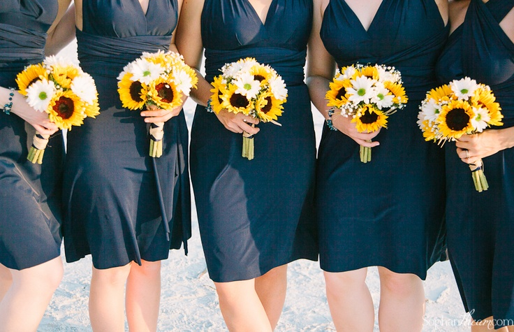 Dark Blue And Yellow Wedding: Navy Blue Bridesmaid Dresses And Sunflower Bouquets
