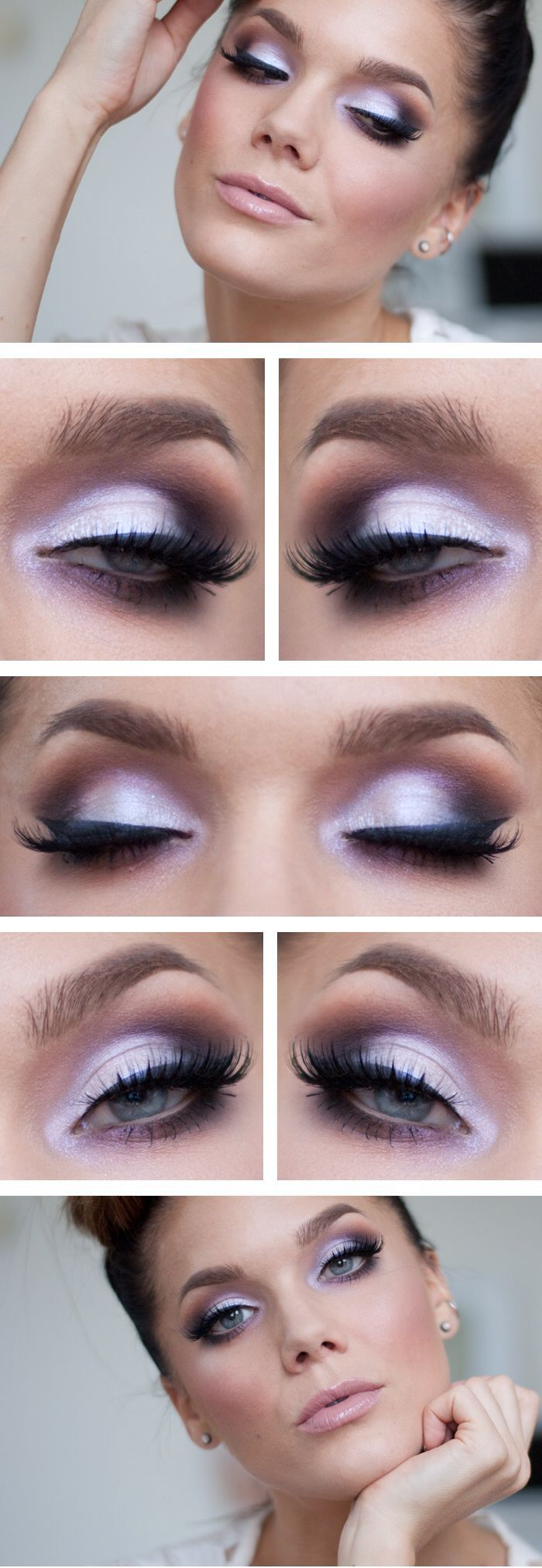 lavender light purple eye makeup.  It's not too dark that it looks like you're going clubbing but still gives a nice pop for wow effect