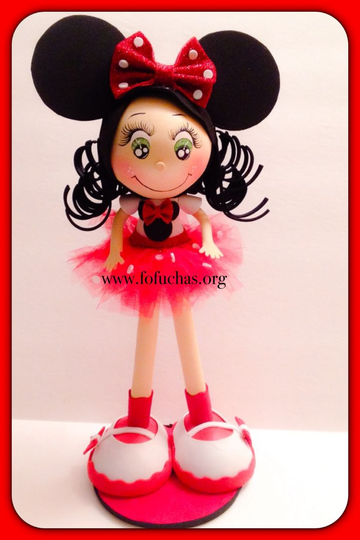Fofucha Doll with Minnie Mouse ears. She is handmade using foam sheets. Her tutu is made with red tulle. She is 12 inches tall. Ready to go to it's new home. She would ve a great decoration to any little girls room. She can also be used as a centerpiece or caketopper.  Face is handpainted. I can also customize her  *change hair color *eye color  *skin color  *tutu color to order visit fofuchas.org or stop by facebook.com/fofuchashandmadedolls #MinnieMouse #FoamDoll #Fofuchas #Disney