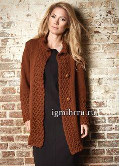 Неувядающая классика! Теплый коричневый кардиган с широкими планками из кос. Вязание спицами