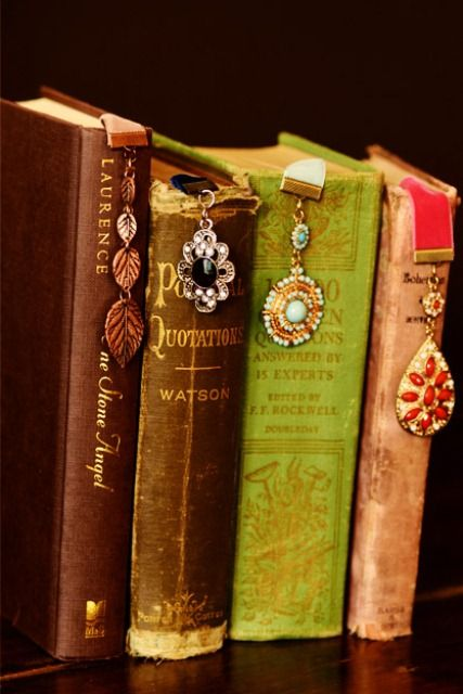 DIY bookmarks. Use velvet ribbons and old costume jewelry to create one-of-a-kind bookmarks. These bookmarks would make great gifts...all by themselves or with a great book (especially one of the classics or a romance novel).
