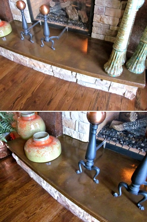 Concrete fireplace hearth places and spaces pinterest for Concrete mantels and hearths
