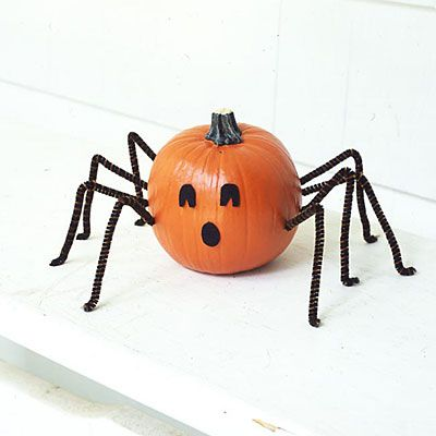 Scare up a spider pumpkin    YOU'LL NEED • 8 pipe cleaners • Toothpick • Small, round pumpkin • Scissors • Black paper • Craft glue    Bend 8 pipe cleaners in half to form spider legs, then bend a tiny foot onto an end. Using toothpick, poke 4 holes into each side for legs. Push a pipe cleaner into each hole. Cut eyes and mouth out of black paper and glue to pumpkin.