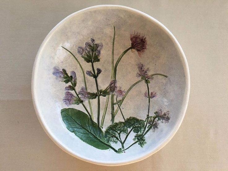Salt Marsh Pottery Hanging Wall Bowl A hand crafted bowl with flowers impressed into clay Size - 2  hgt. 7  dia. Marked - Salt Marsh Pottery Dartmouth MA Makers mark This lovely Salt Marsh Pottey Han