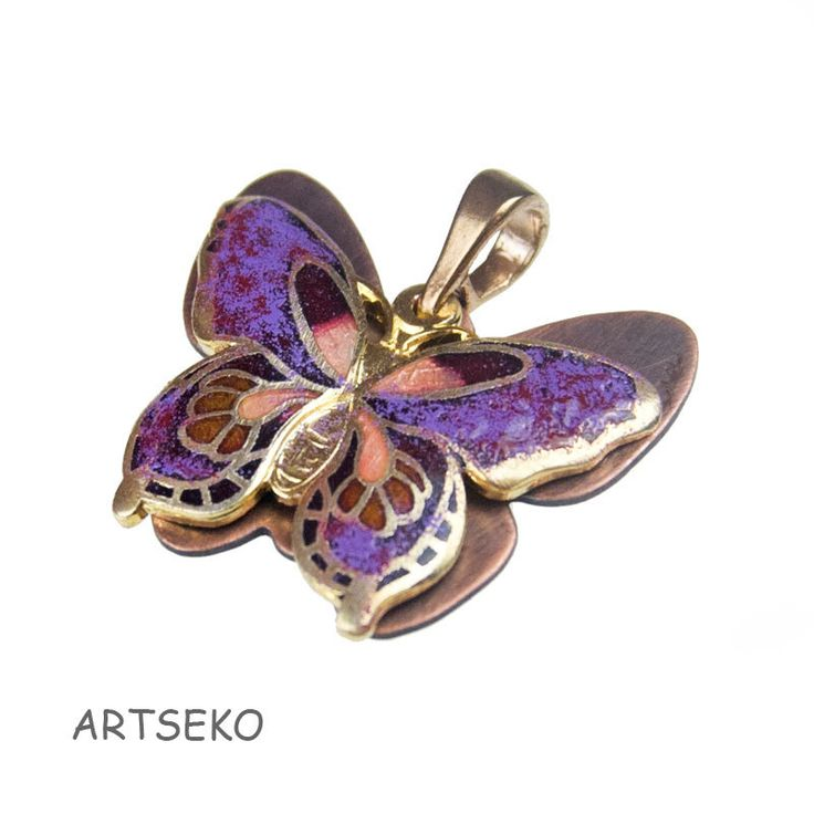 Butterfly pendant,c296, pendant with colorful butterfly,copper jewelry,enamel painted,romantic,gift for her,boho,butterfly,butterfly pendant by Artseko on Etsy