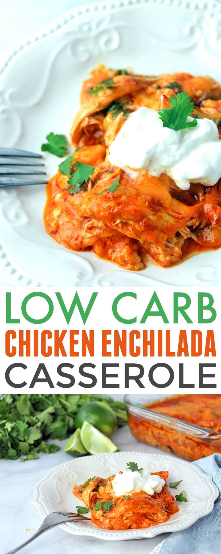 Low Carb Chicken Enchilada Casserole - easy and delish way to enjoy enchiladas on a low carb or keto diet. It's based off the America's Test Kitchen Chicken Enchiladas so you know it's good! https://www.730sagestreet.com/low-carb-chicken-enchilada-casserole/ #lowcarb