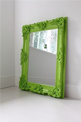 Spray paint an old mirror frame in a bright color  love this green!