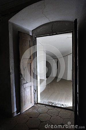 Old door in darkness