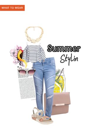 'Summer Stylin'' by me on Limeroad featuring Stripes White Tops, Blue Jeans with Beige Sandals