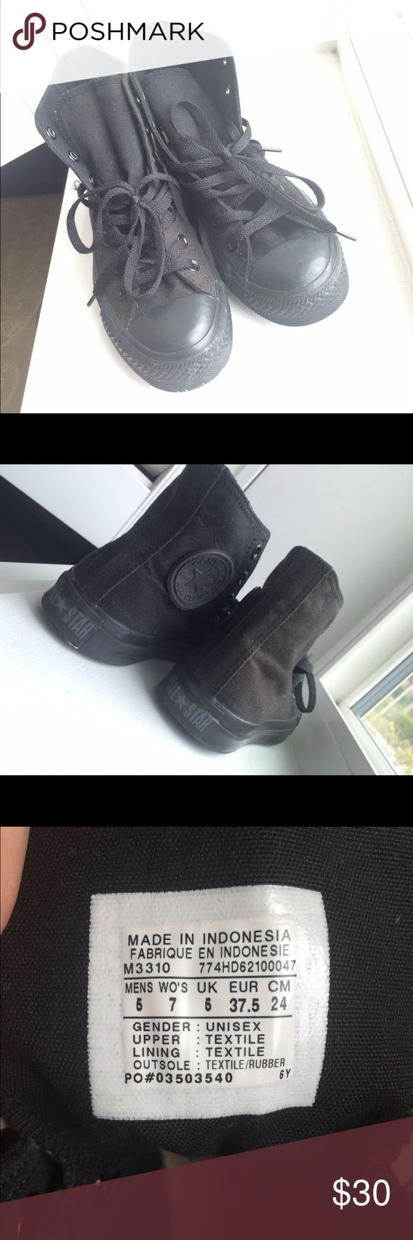 Black hi top converse Great condition! Size 5 in men, 7 in women. Converse Shoes Sneakers