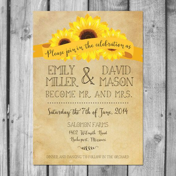 726 best images about sunflower wedding invitations on pinterest, Wedding invitations