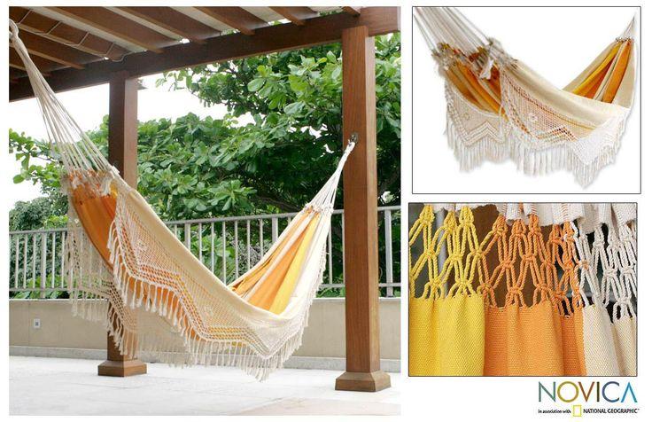Novica Outdoor Garden and Patio 100% Cotton Eco Friendly Yellow Beige Stripe Hand Crocheted Macrame Edge Double Hammock