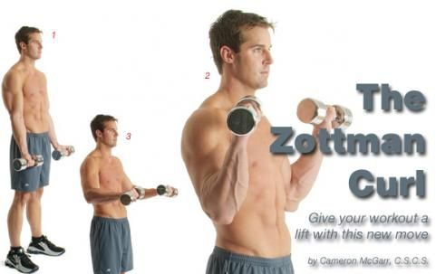 The Zottman Curl, STANDING or INCLINE, 3x6 or 4x8 sets/reps. (Start with DB that are 5 to 10 lbs lighter than what you would normally use to curl for 12 reps.