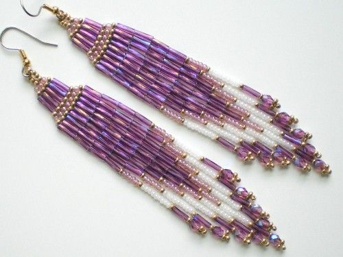 Long Lavender Brick Stitch Earrings,  love the colors...