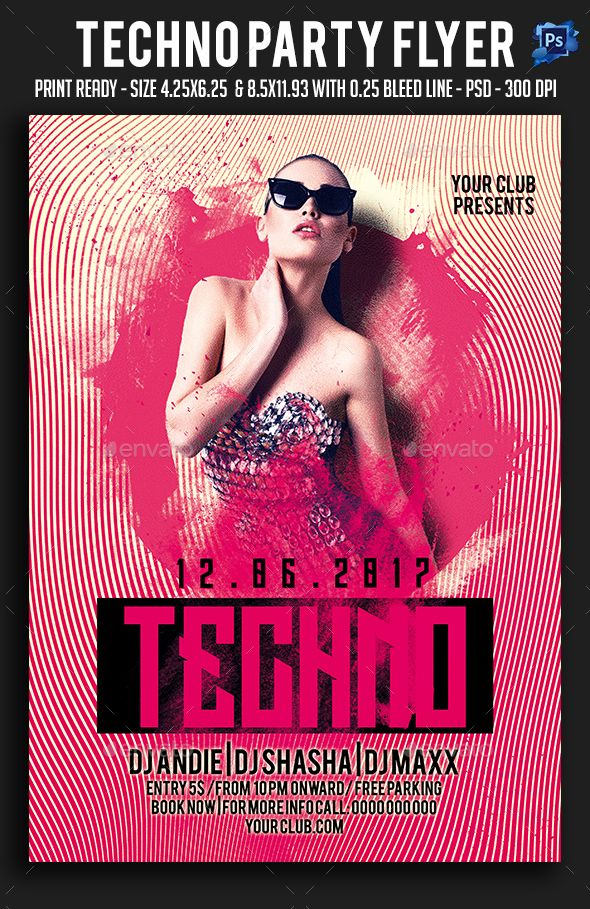 Techno Party Flyer Template PSD