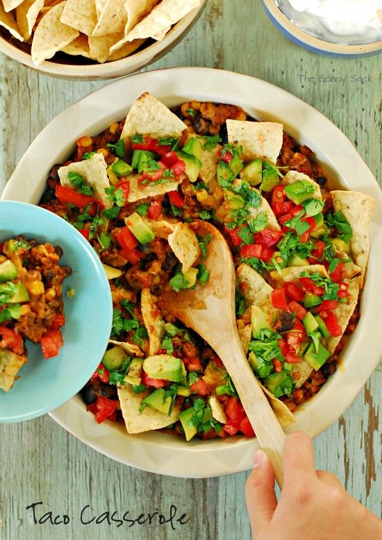 Taco Casserole is a ground beef recipe that makes a delicious family meal. #dinner #recipe #client