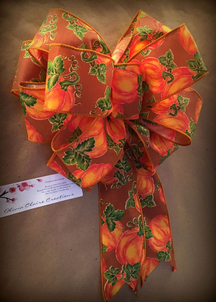 Hand tied Fall bow made with a 2.5 inch wide wired ribbon