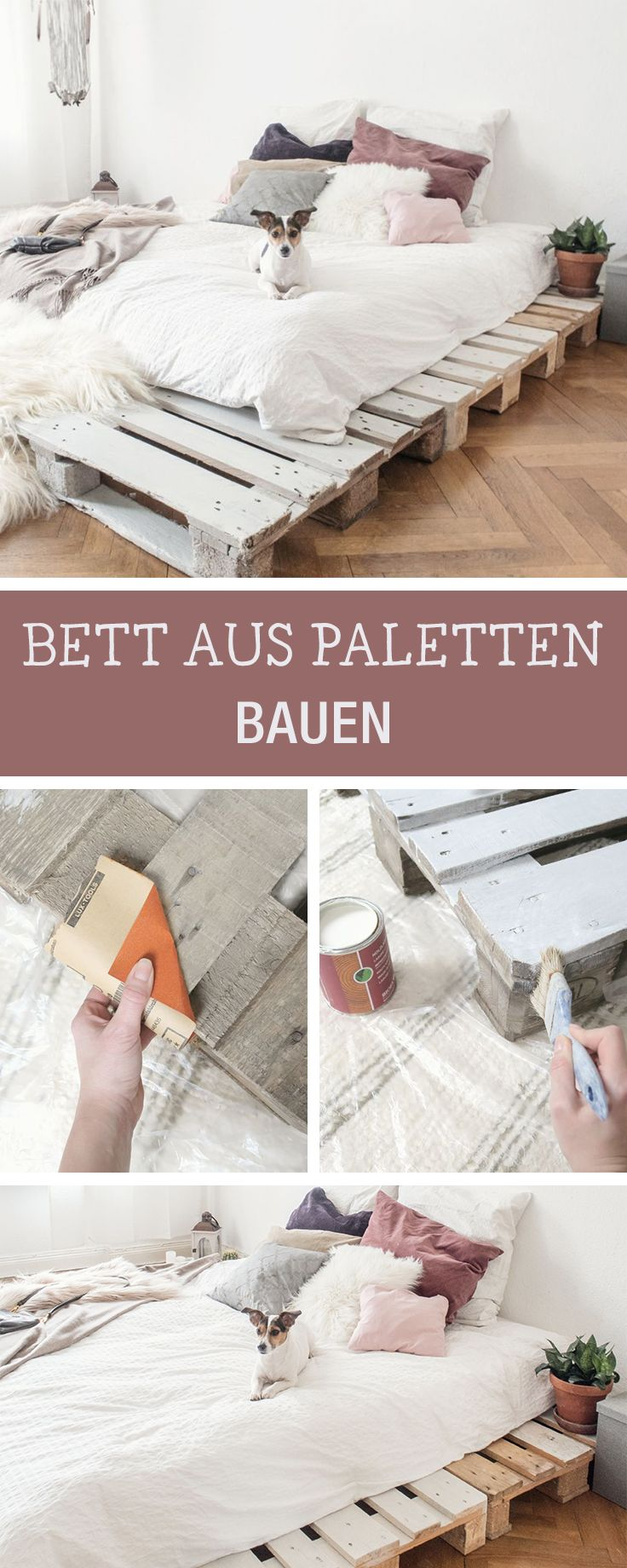 die 25 besten ideen zu palettenbett auf pinterest palettenbetten palettenplattform bett und. Black Bedroom Furniture Sets. Home Design Ideas